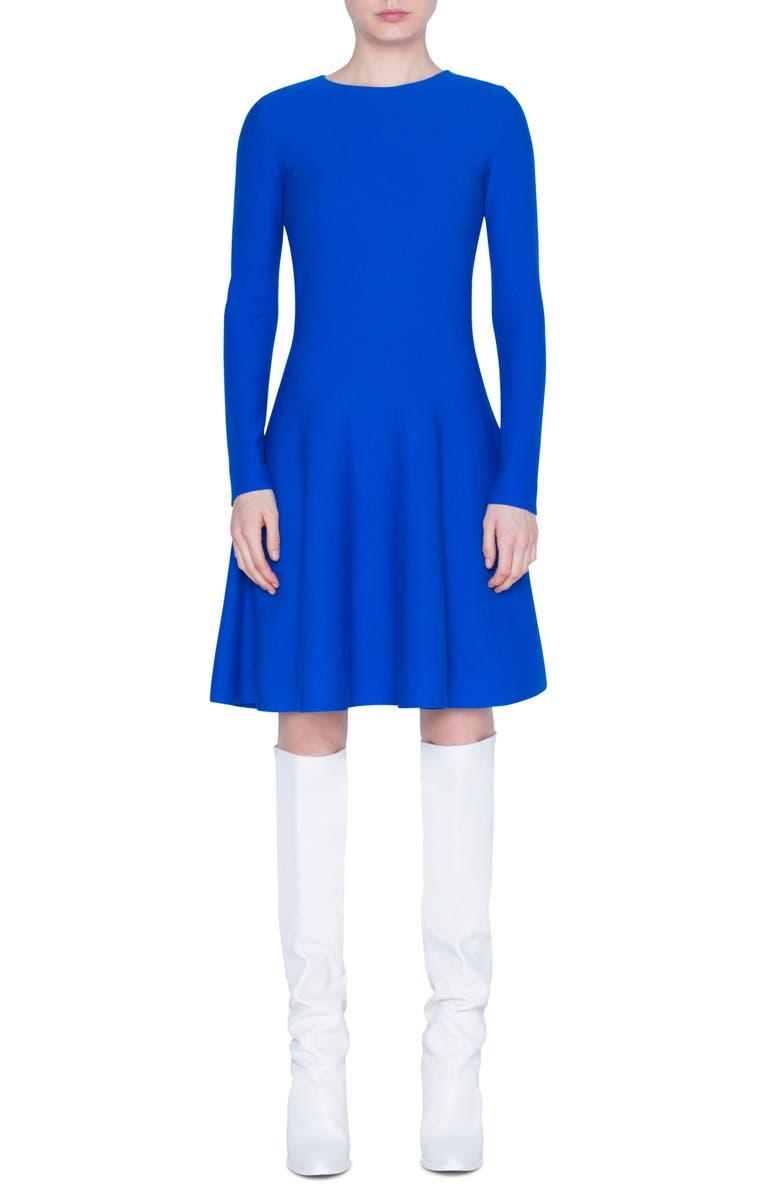 AKRIS PUNTO Long Sleeve Fit & Flare Wool Sweater Dress, Main, color, ELECTRIC BLUE