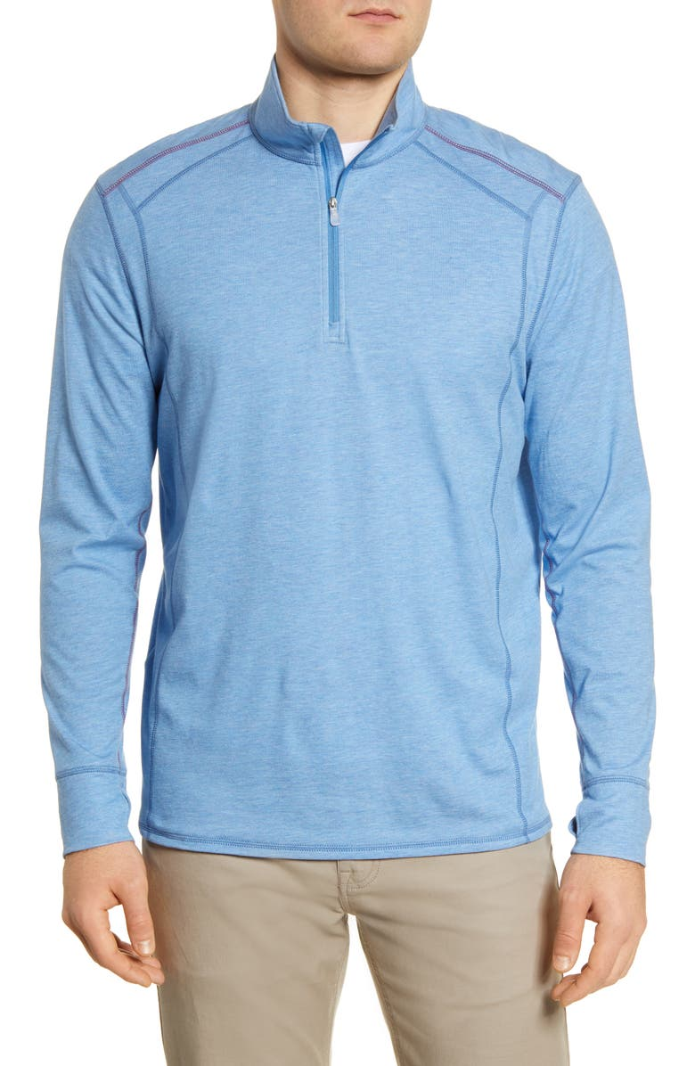 TOMMY BAHAMA IslandActive<sup>®</sup> Palm Valley Half Zip Performance Pullover, Main, color, BLUE ISLES HTHR