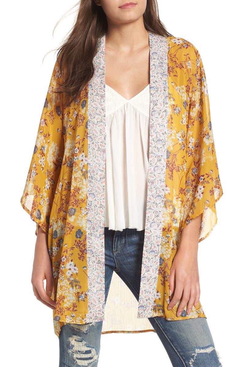 BAND OF GYPSIES Mix Print Kimono, Main, color, 759