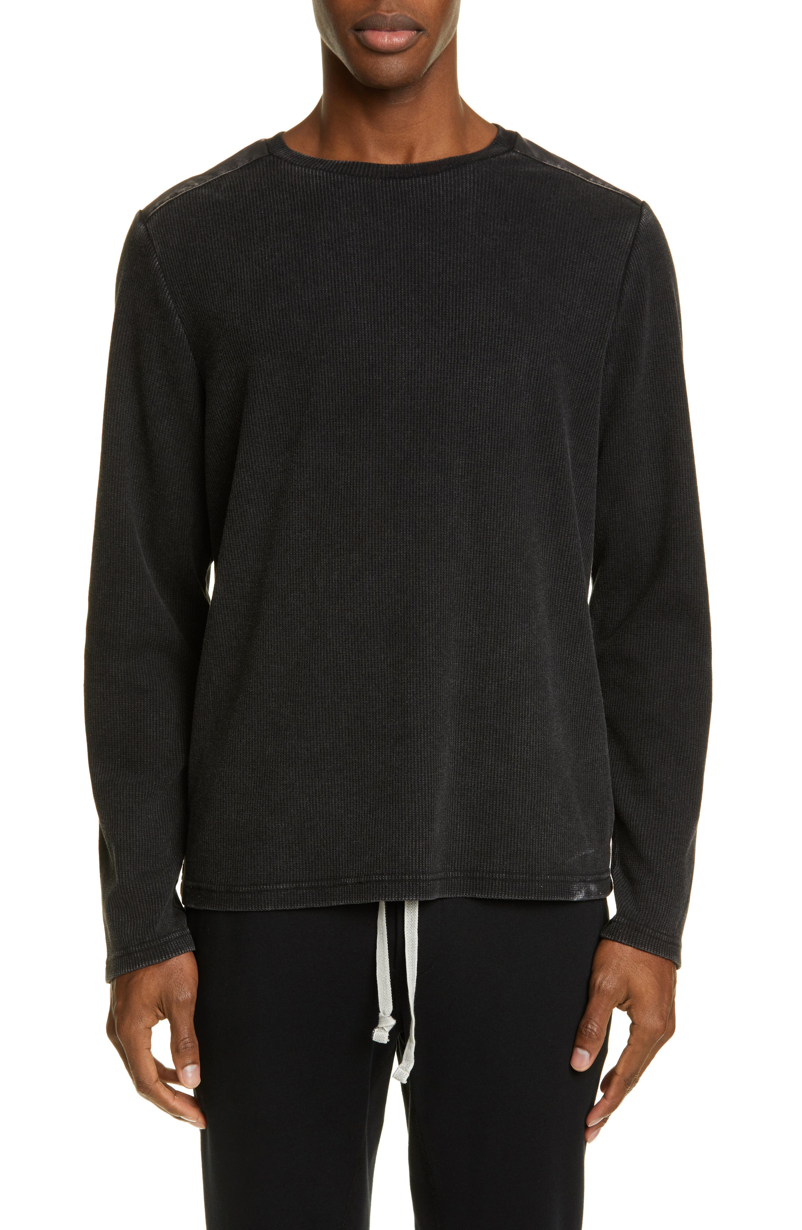 Image of OVADIA AND SONS Washed Waffle Knit Long Sleeve T-Shirt