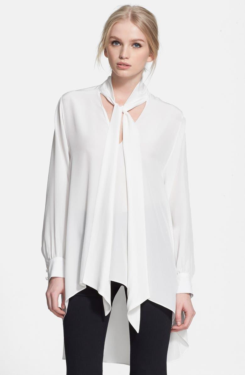 RACHEL ZOE 'Joya' Tie Neck Silk Blouse, Main, color, 100
