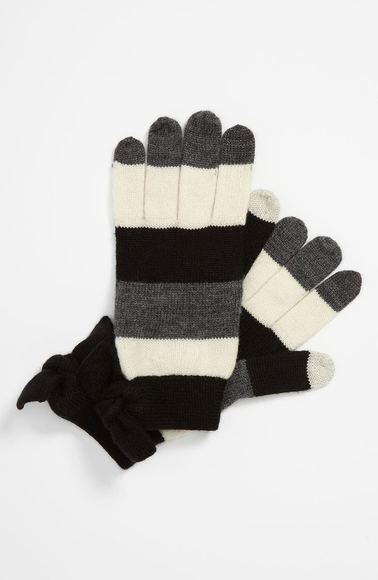 KATE SPADE NEW YORK bow tech gloves, Main, color, 001