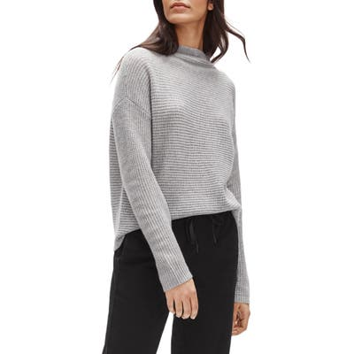 Eileen Fisher Funnel Neck Boxy Cashmere Sweater, Grey