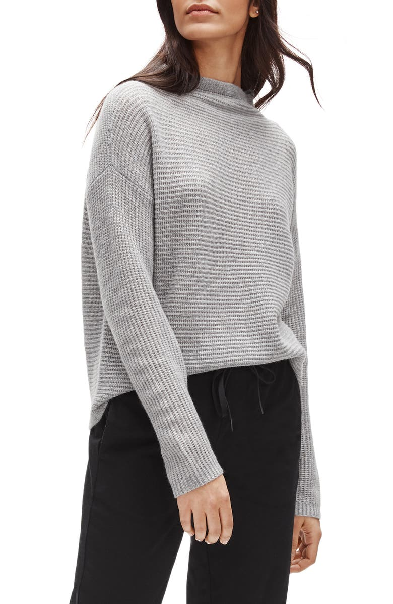 EILEEN FISHER Funnel Neck Boxy Cashmere Sweater, Main, color, DARK PEARL