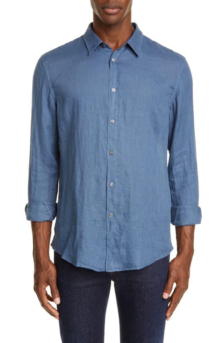 JOHN VARVATOS Classic Fit Button-Up Linen Shirt, Main, color, DUTCH BLUE