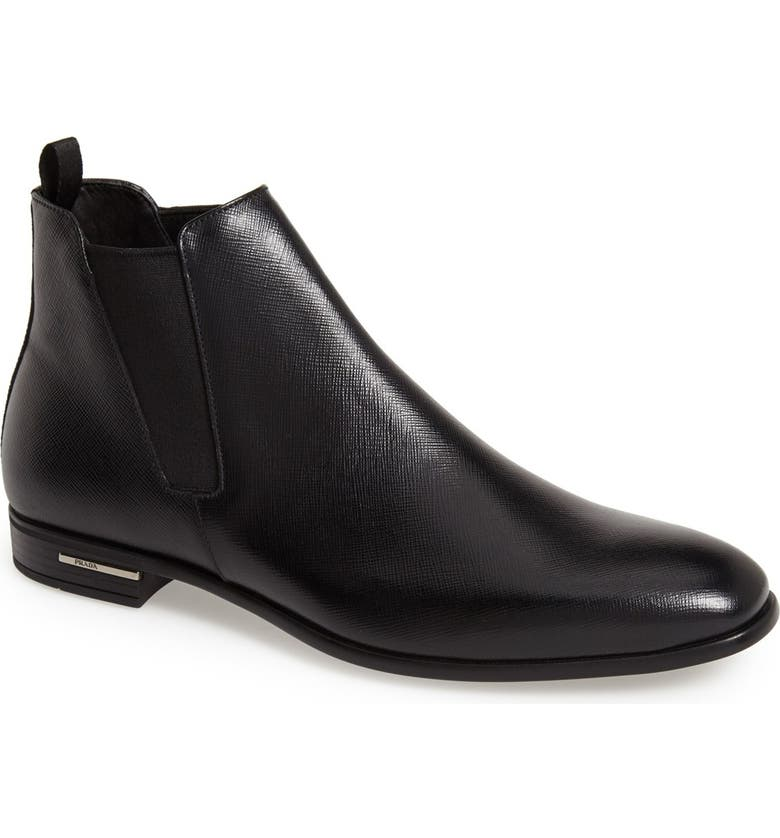 PRADA Saffiano Leather Chelsea Boot, Main, color, BLACK