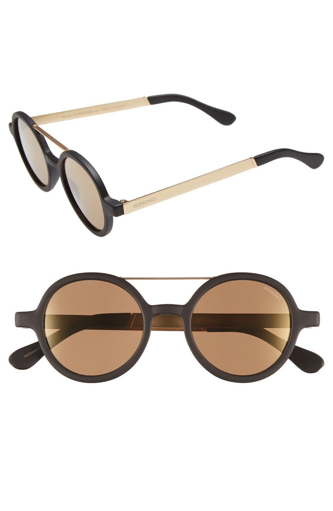 'Vivien' Round Lens Sunglasses, Main, color, 001