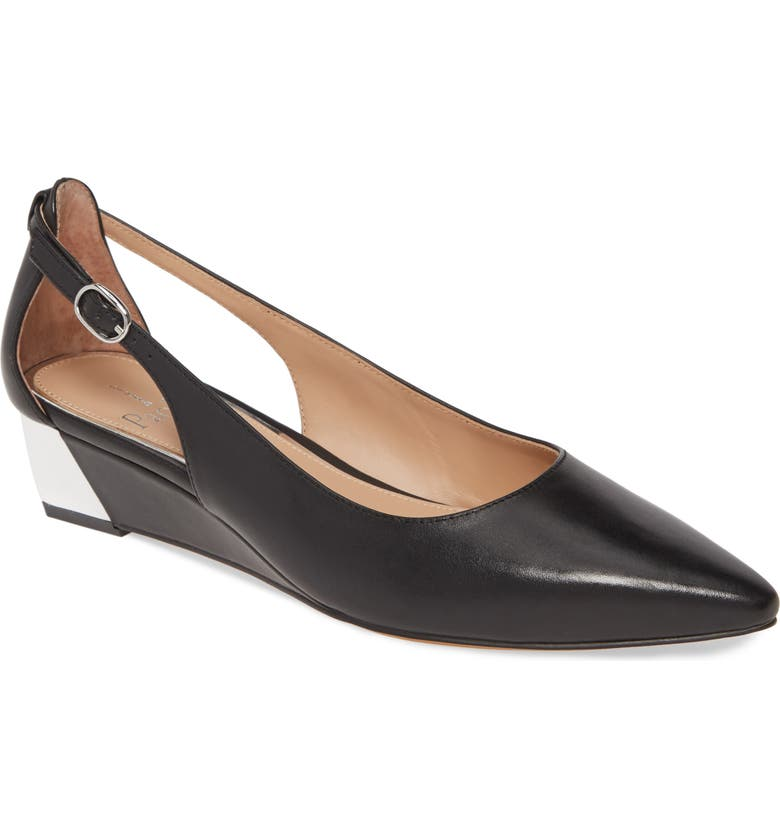 LINEA PAOLO Velia Wedge Pump, Main, color, BLACK LEATHER