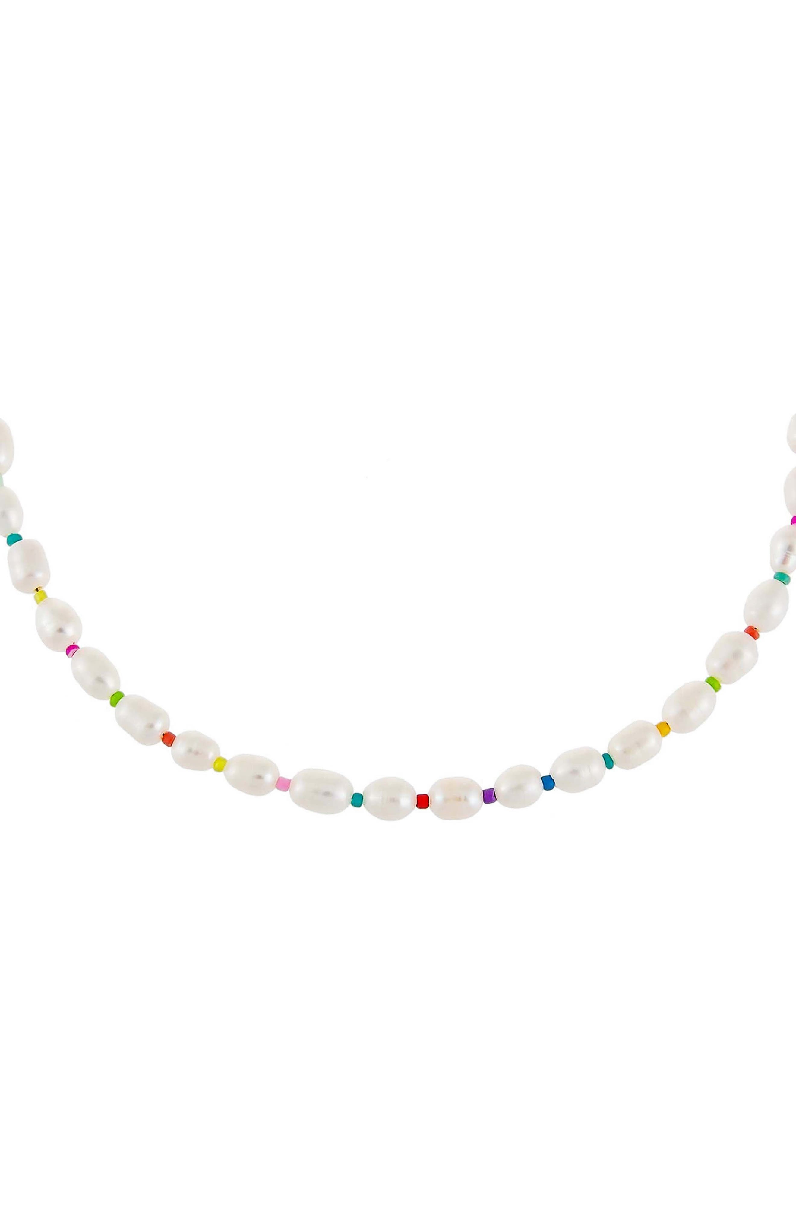 Women's Adina's Jewels Multicolor Pearl Beaded Necklace