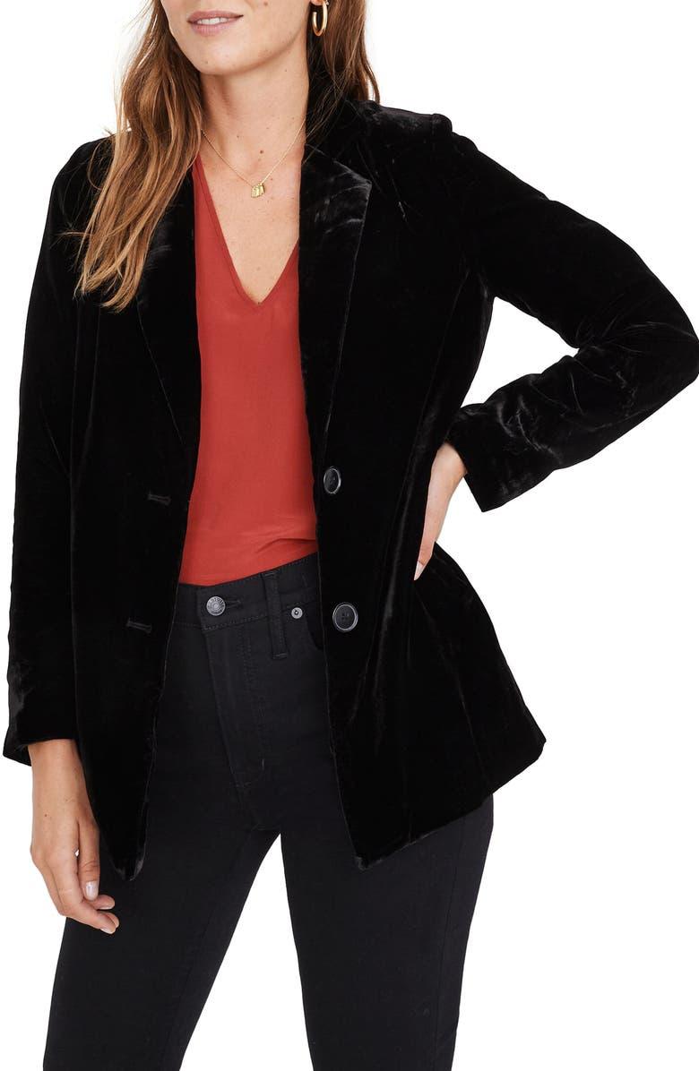 MADEWELL Dorset Velvet Blazer, Main, color, TRUE BLACK