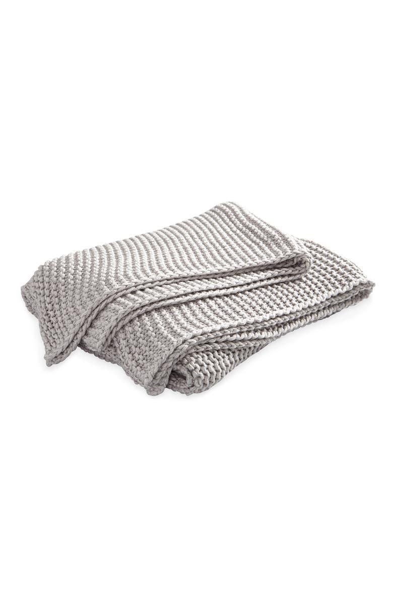 MATOUK Orla Cotton & Wool Throw Blanket, Main, color, PEWTER