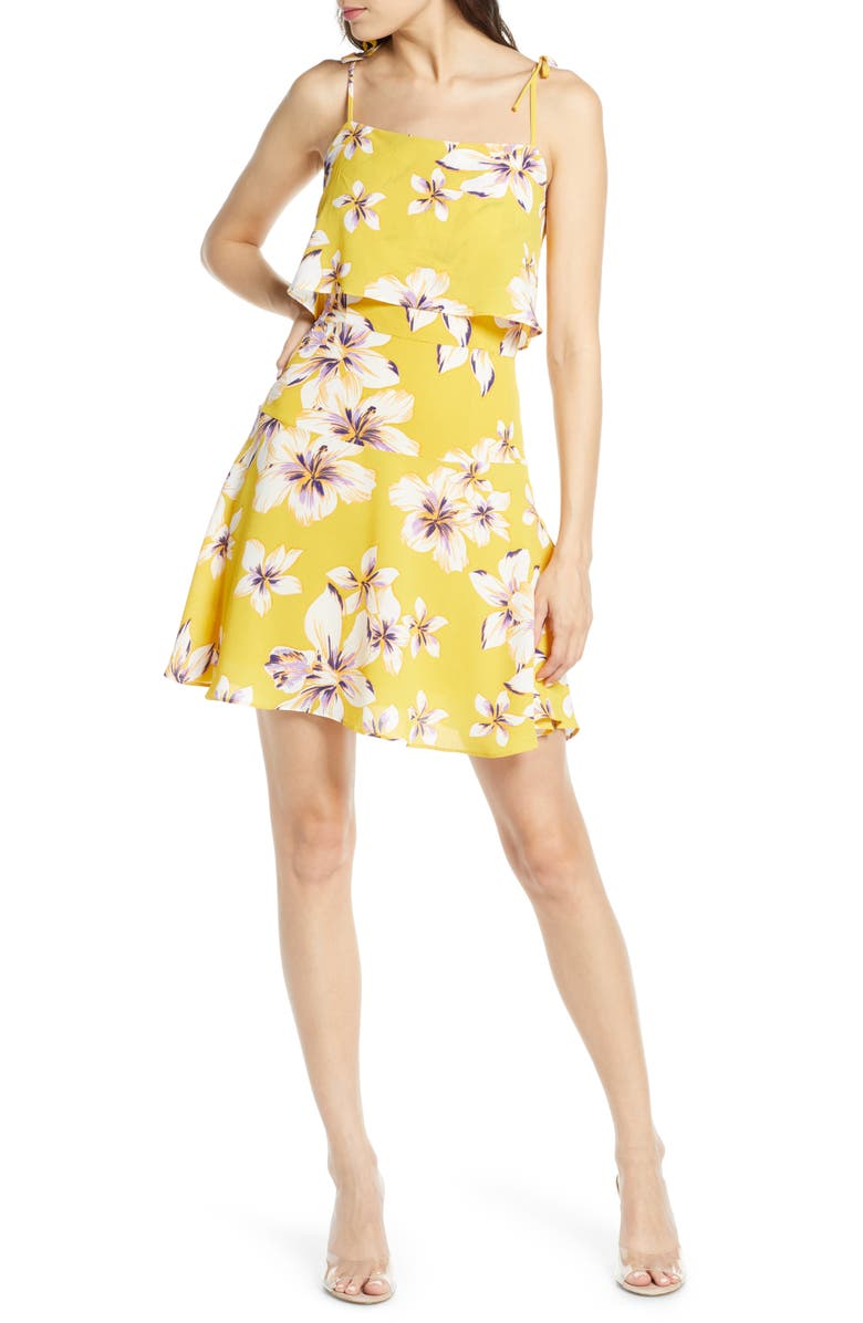 BB DAKOTA Island Time Floral Popover Sundress, Main, color, SUNGLOW YELLOW