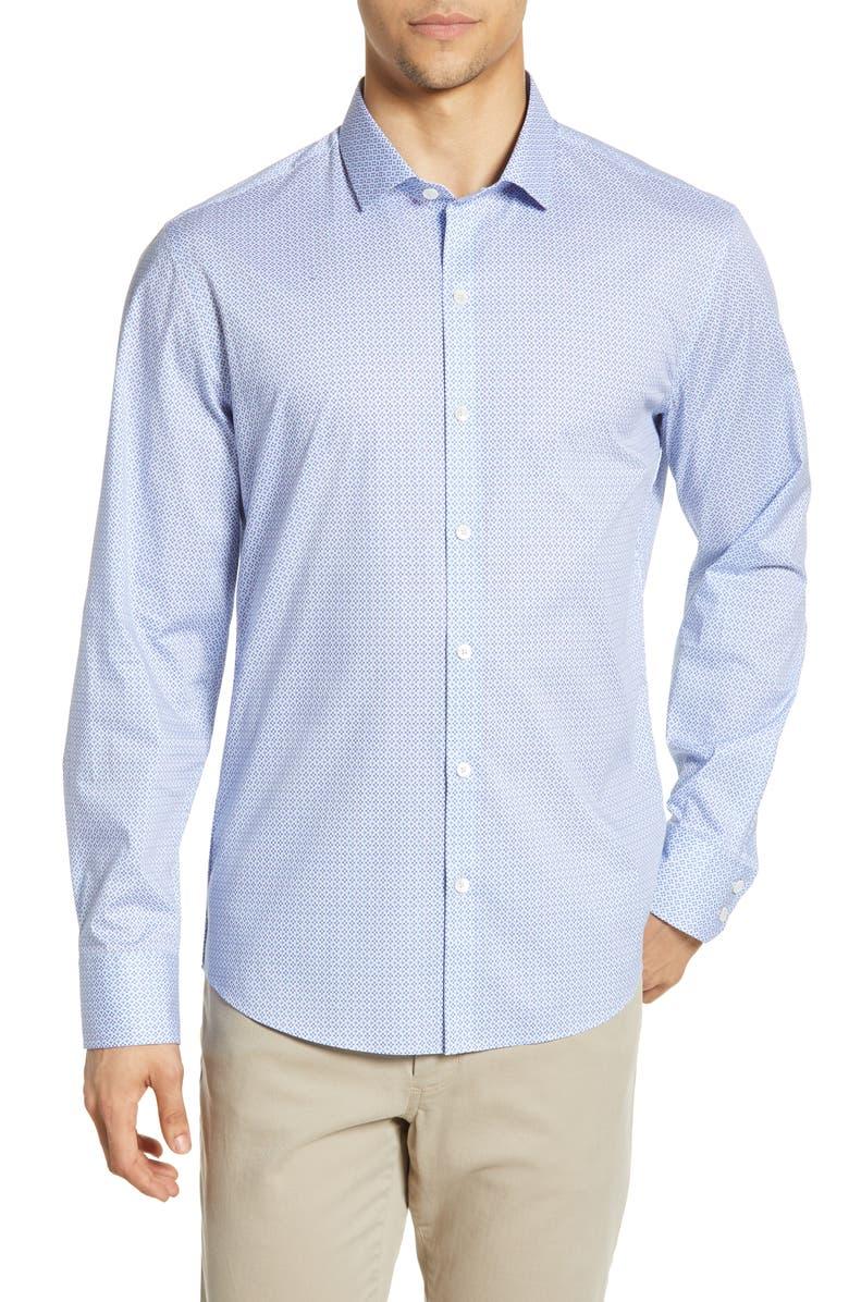 ZACHARY PRELL Van Meter Regular Fit Print Sport Shirt, Main, color, 450