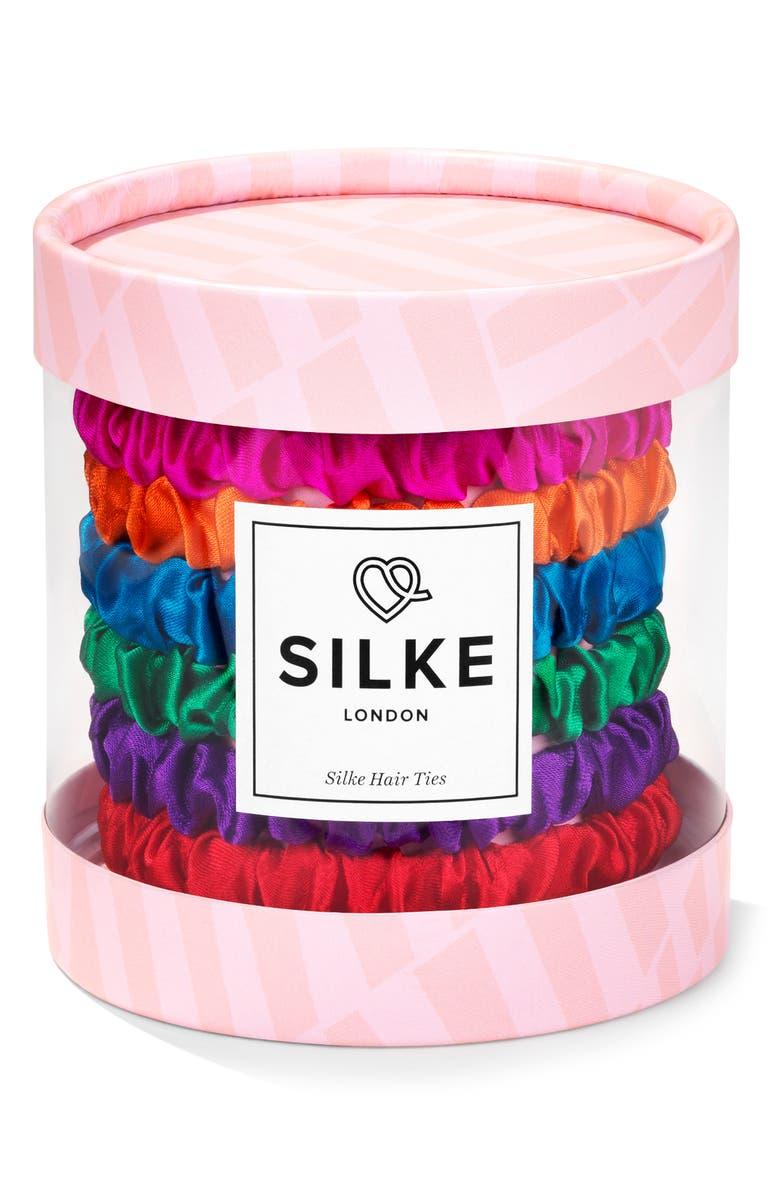 SILKE LONDON Cleopatra Silk Hair Ties, Main, color, JEWEL