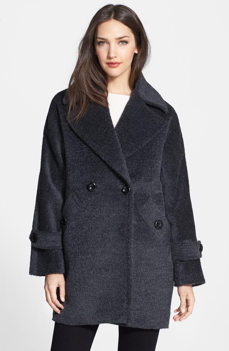 TRINA TURK 'Nancy' Double Breasted Wool & Alpaca Blend Coat, Main, color, 001