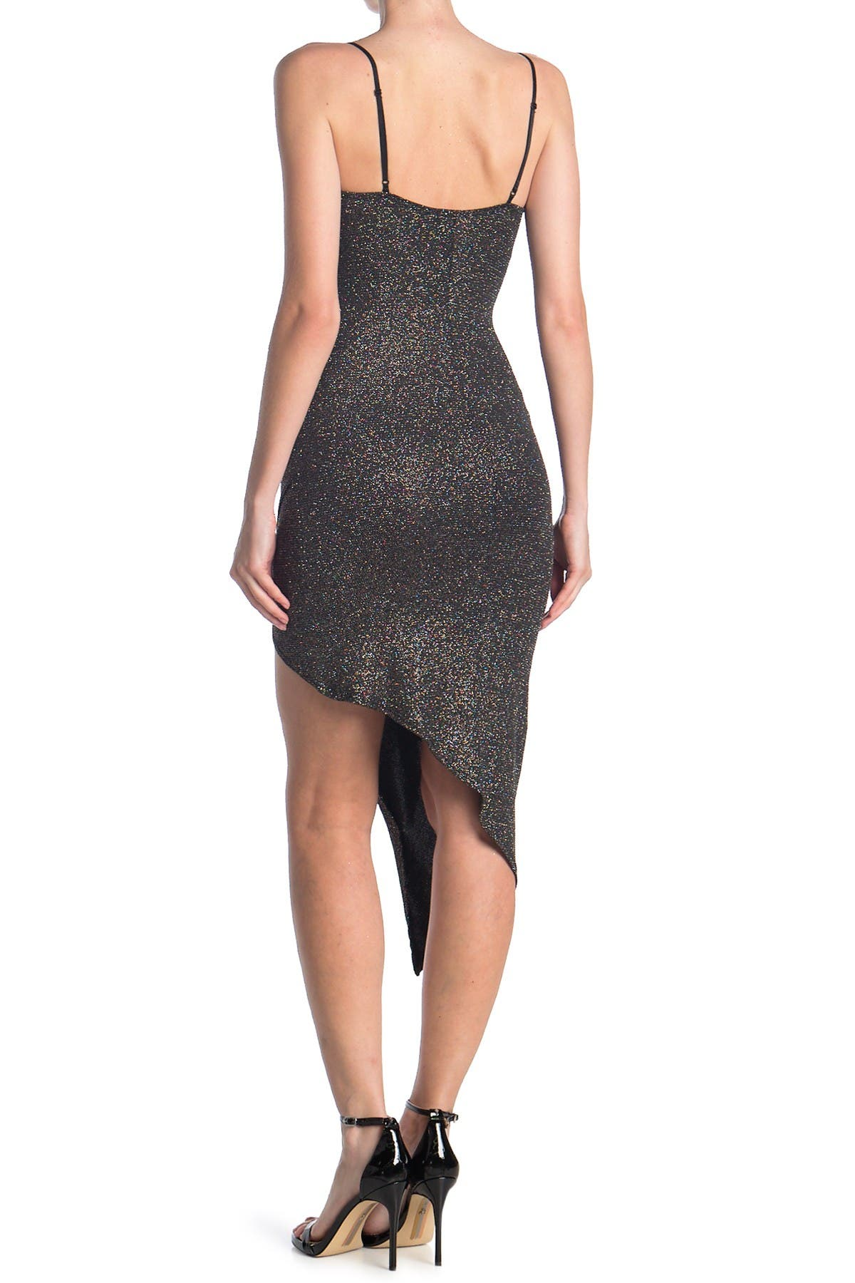 Love, Nickie Lew Shimmer Ruched High/Low Bodycon Dress