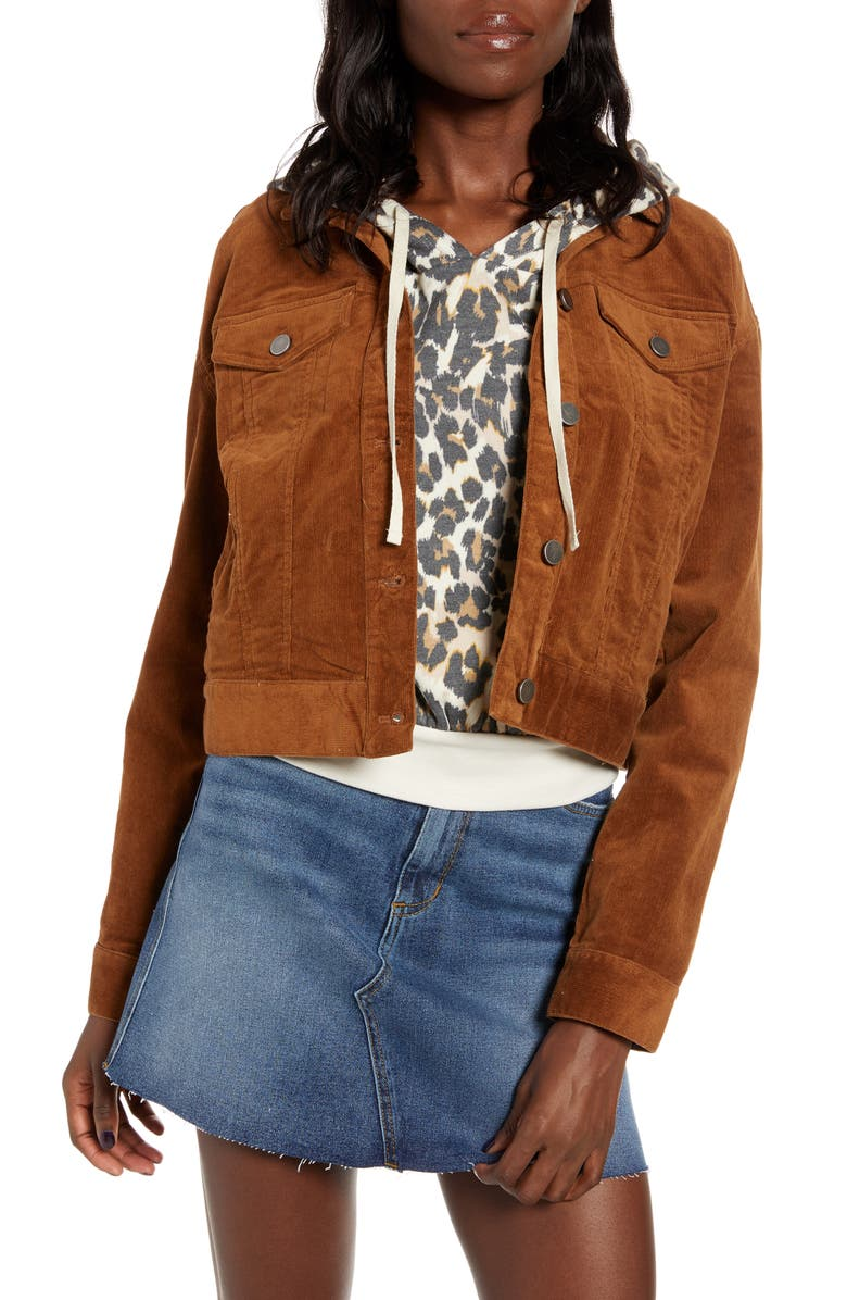BP. Corduroy Crop Trucker Jacket, Main, color, BROWN DACHSHUND