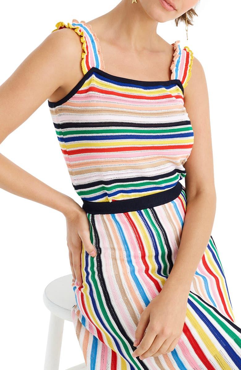J.CREW Rainbow Stripe Ruffle Strap Tank Sweater, Main, color, NAVY MULTI