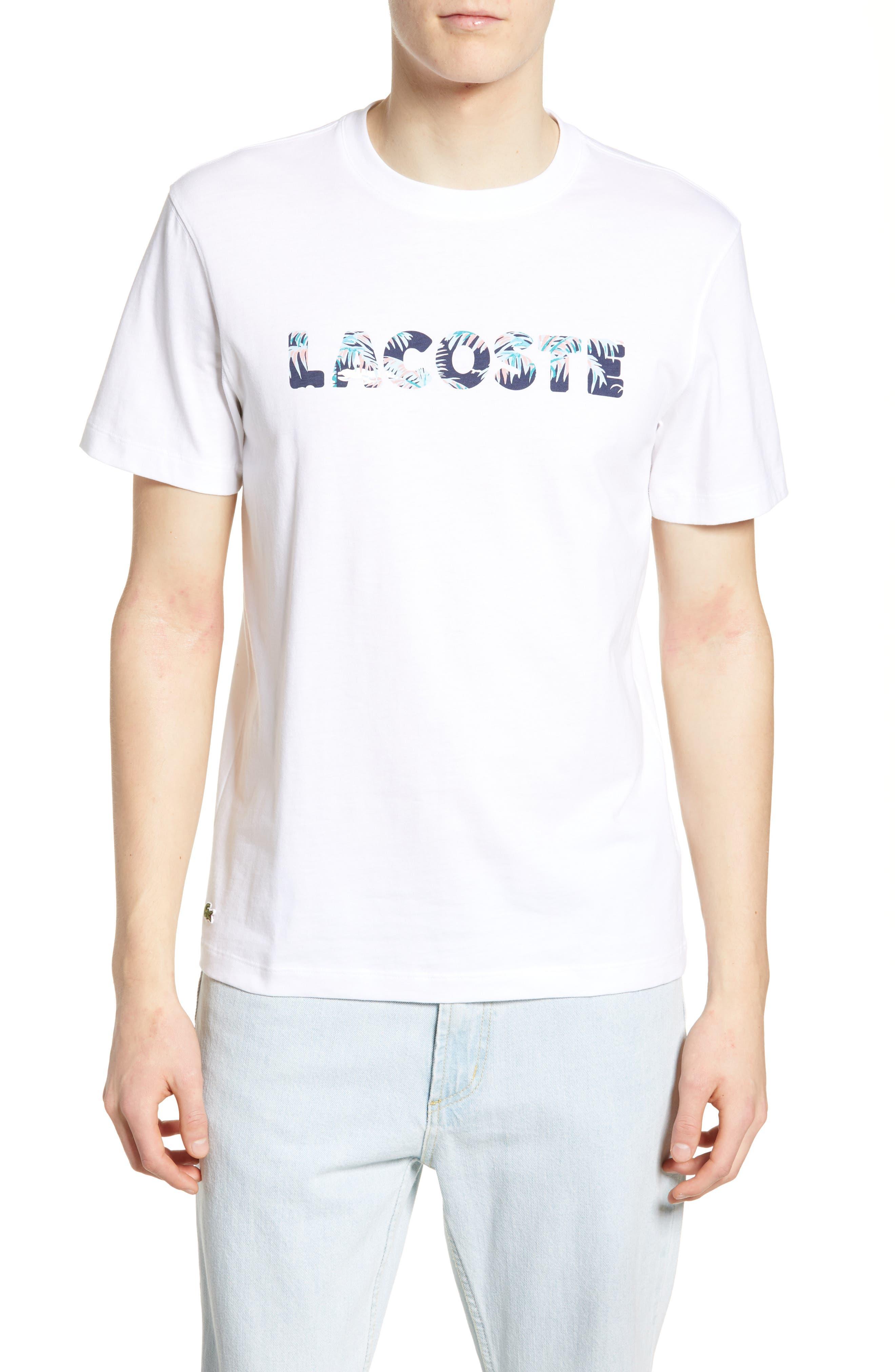 c84f6988 Lacoste Hawaiian Print Regular Fit Logo T-Shirt, White