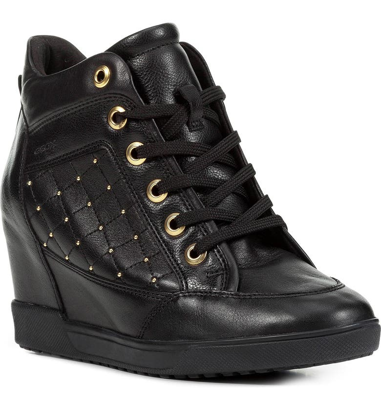 GEOX Carum Wedge Sneaker, Main, color, BLACK LEATHER