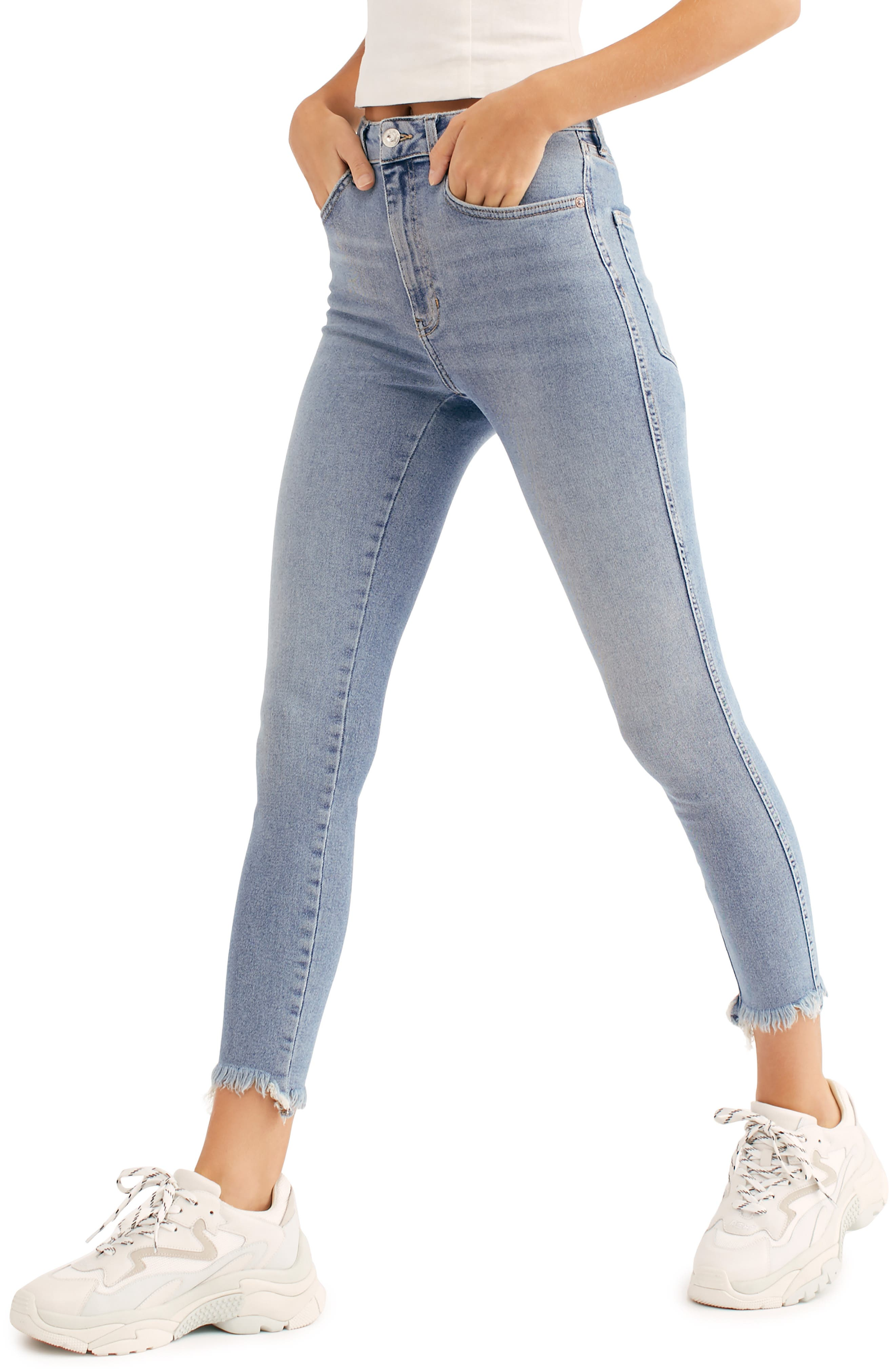 Free People High Waist Crop Raw Hem Denim Leggings