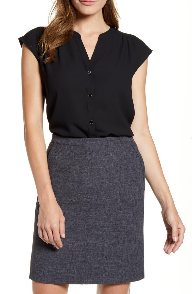 ANNE KLEIN Sleeveless Button-Up Blouse, Main, color, ANNE BLACK