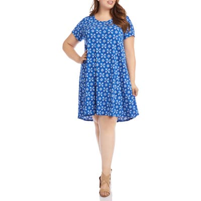 Plus Size Karen Kane Maggie Tile Print Trapeze Dress, Blue