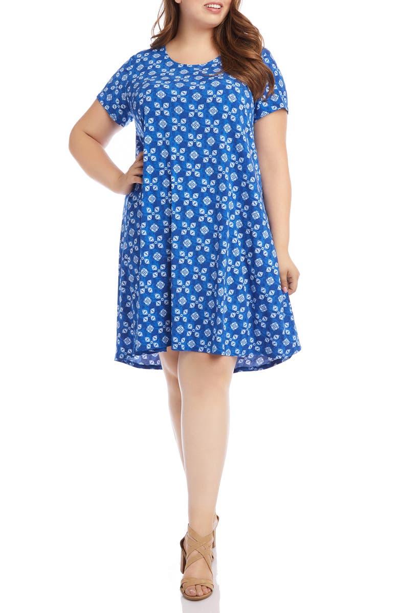 KAREN KANE Maggie Tile Print Trapeze Dress, Main, color, PRINT