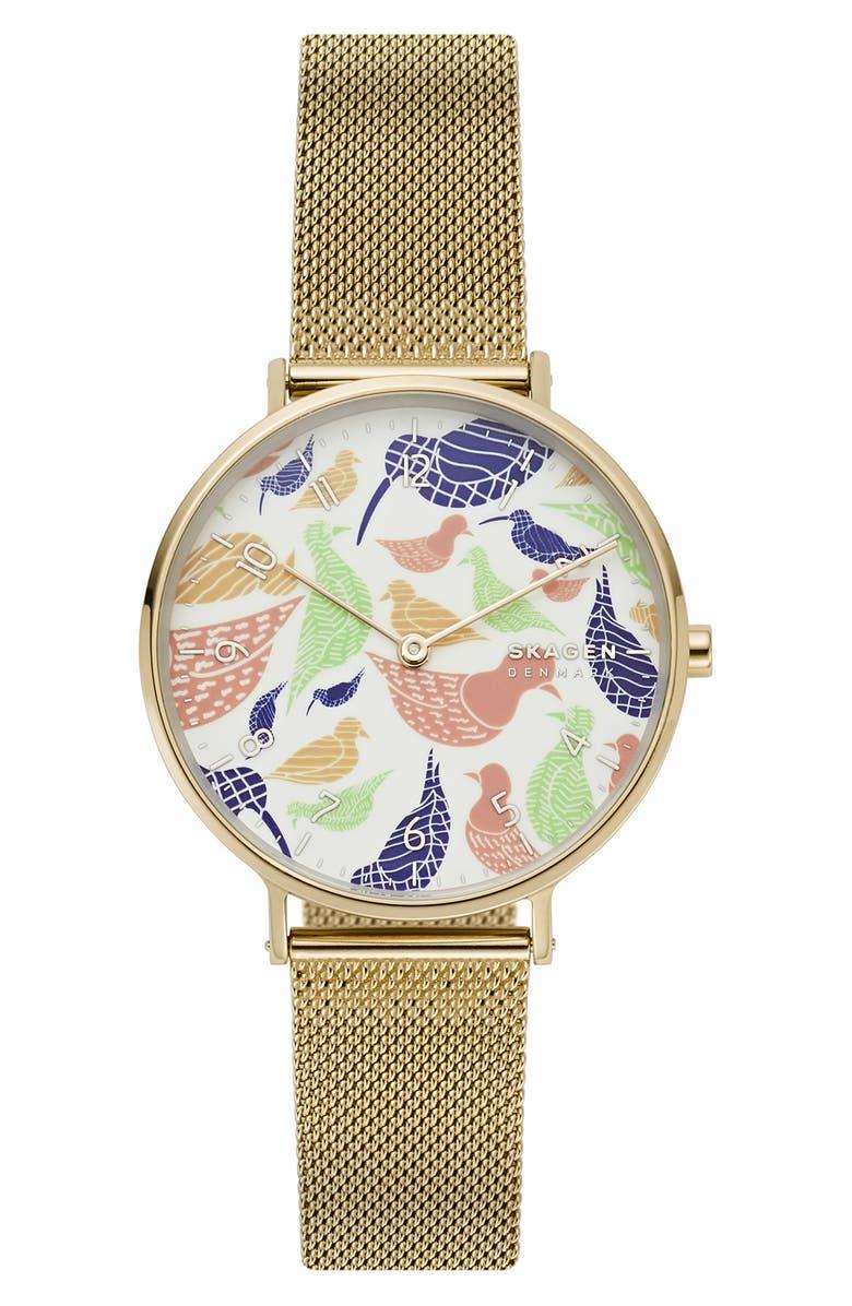 SKAGEN Aaren Bird Dial Mesh Strap Watch, 36mm, Main, color, GOLD/ WHITE/ GOLD