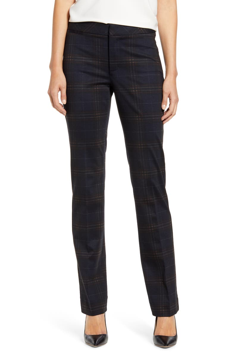 NYDJ Plaid Slim Trousers, Main, color, 064