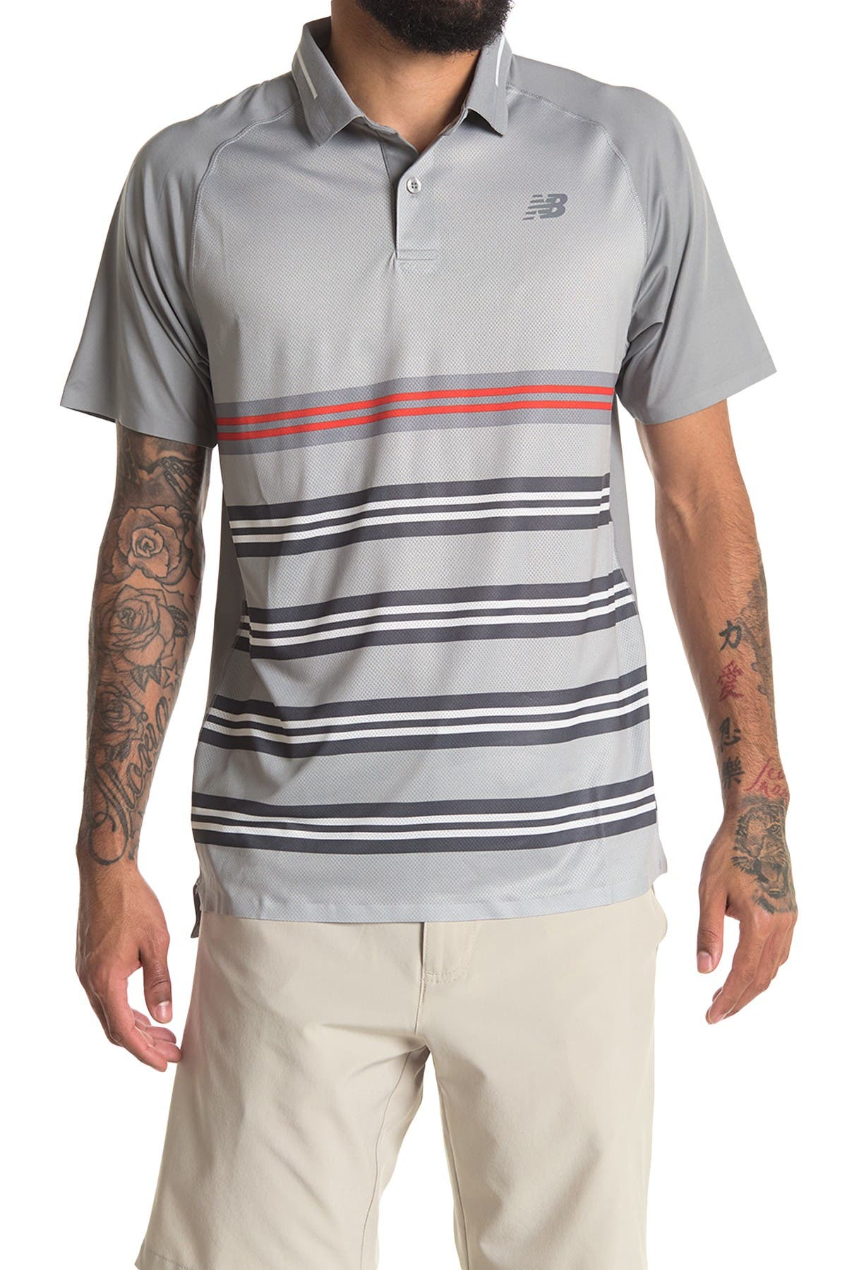 Image of New Balance Striped Tournament Polo Shirt