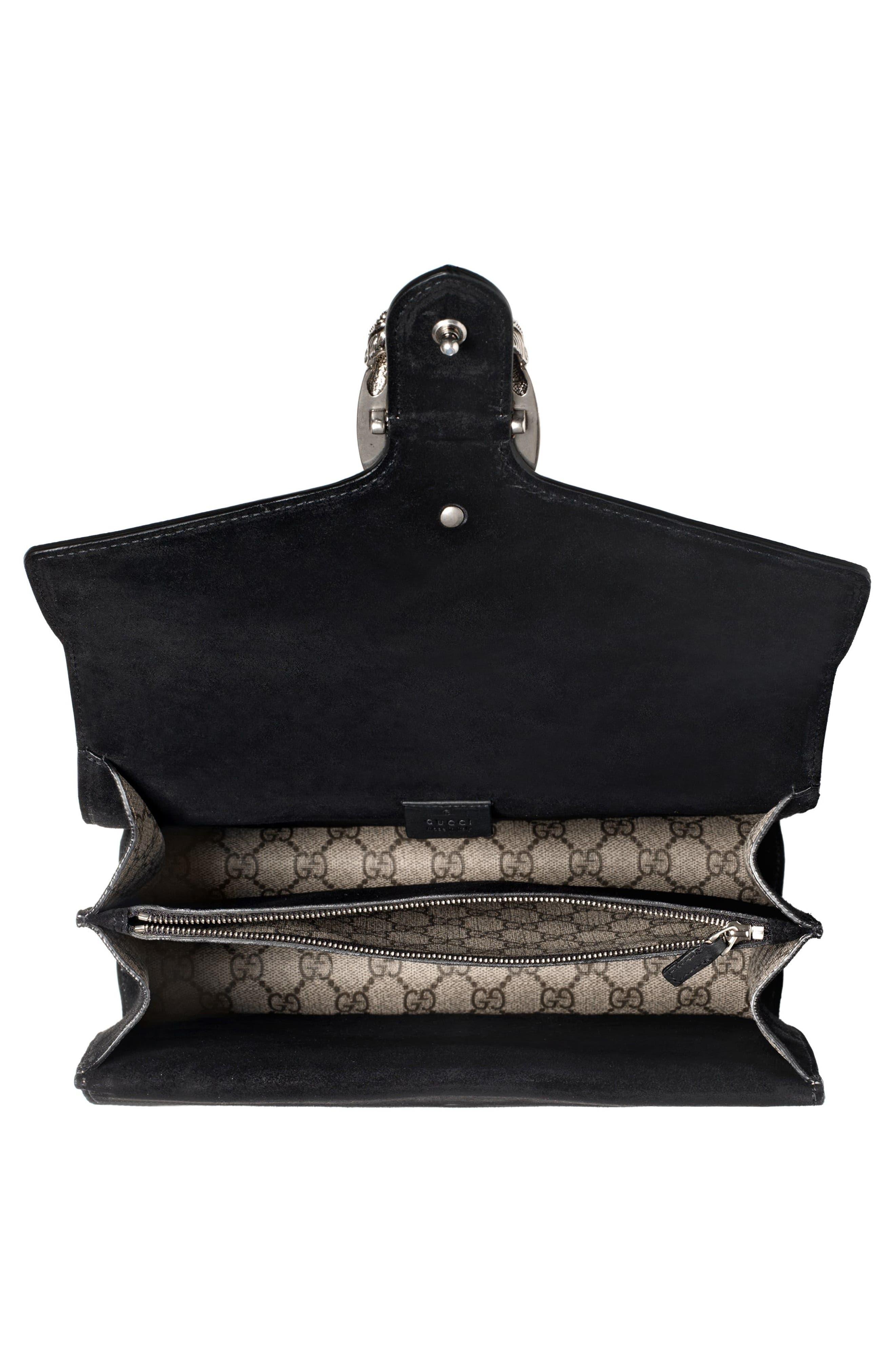 ,                             Medium Dionysus Crystal Embellished GG Supreme Canvas & Suede Shoulder Bag,                             Alternate thumbnail 3, color,                             276