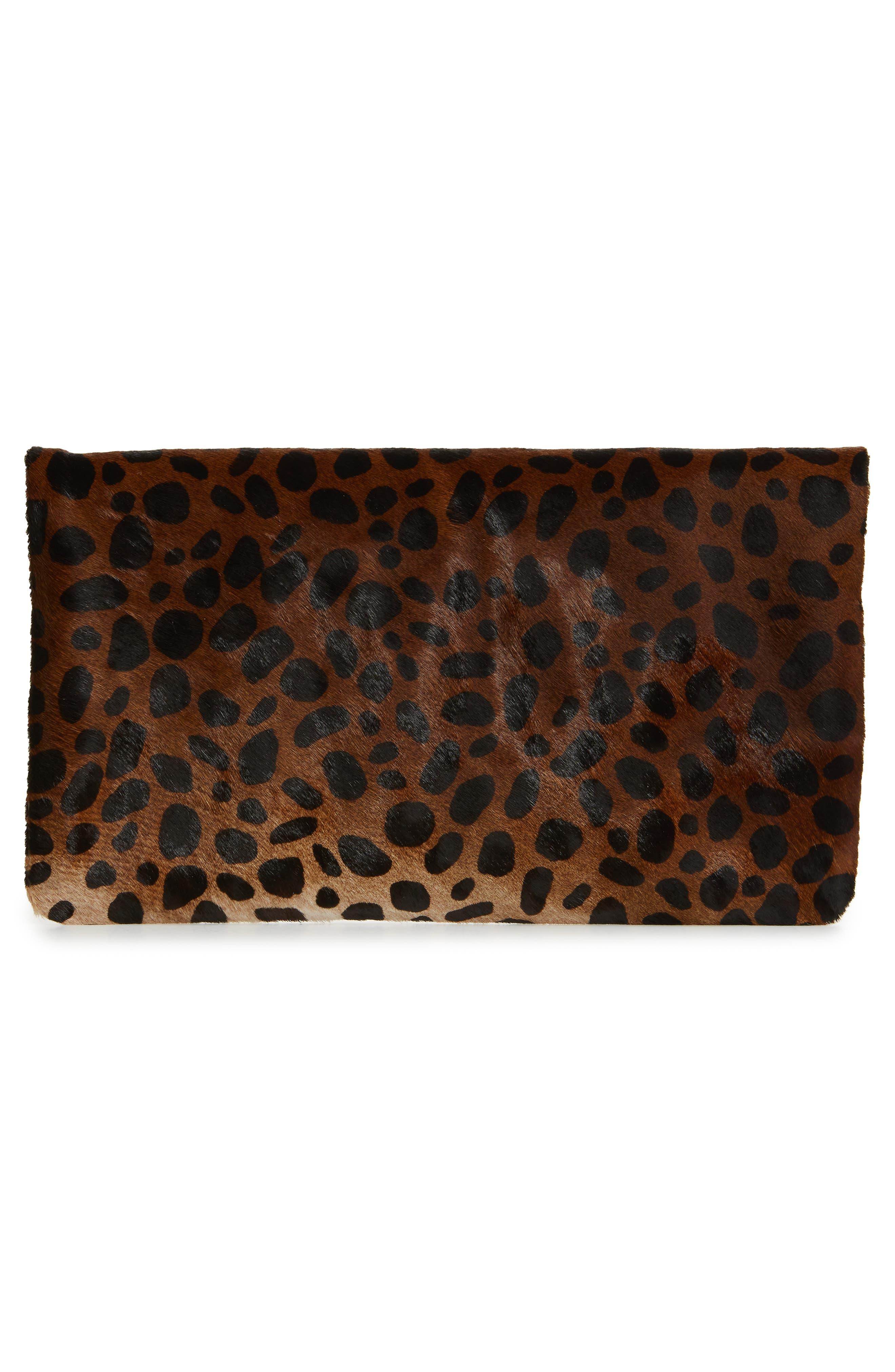,                             Genuine Calf Hair Leopard Print Foldover Clutch,                             Alternate thumbnail 3, color,                             203