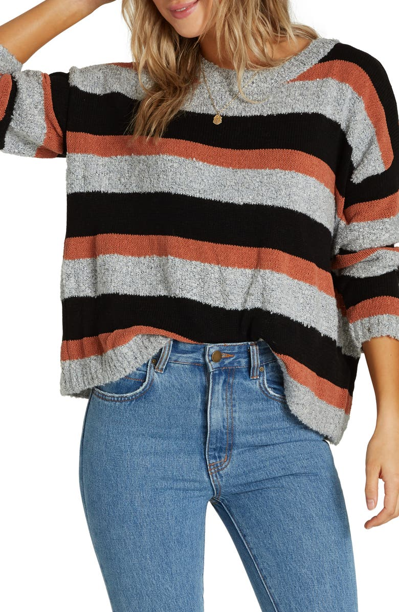 BILLABONG Bold Moves Stripe Sweater, Main, color, CACAO