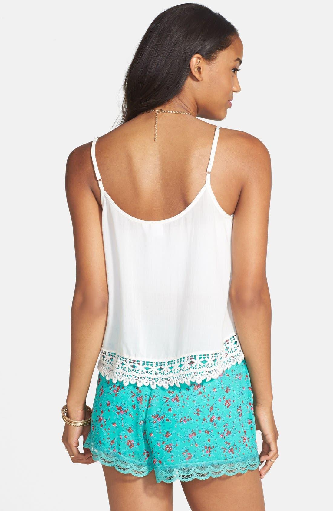 ,                             Lace Trim Floral Print Shorts,                             Alternate thumbnail 12, color,                             300