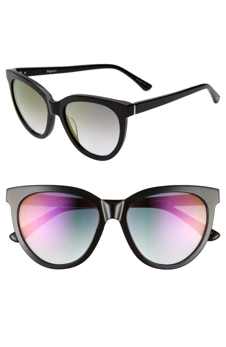 BRIGHTSIDE Beverly 55mm Cat Eye Sunglasses, Main, color, BLACK/ VIOLET GRADIENT MIRROR
