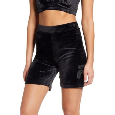 Fila Iris Sretch Velvet Bike Shorts, Black
