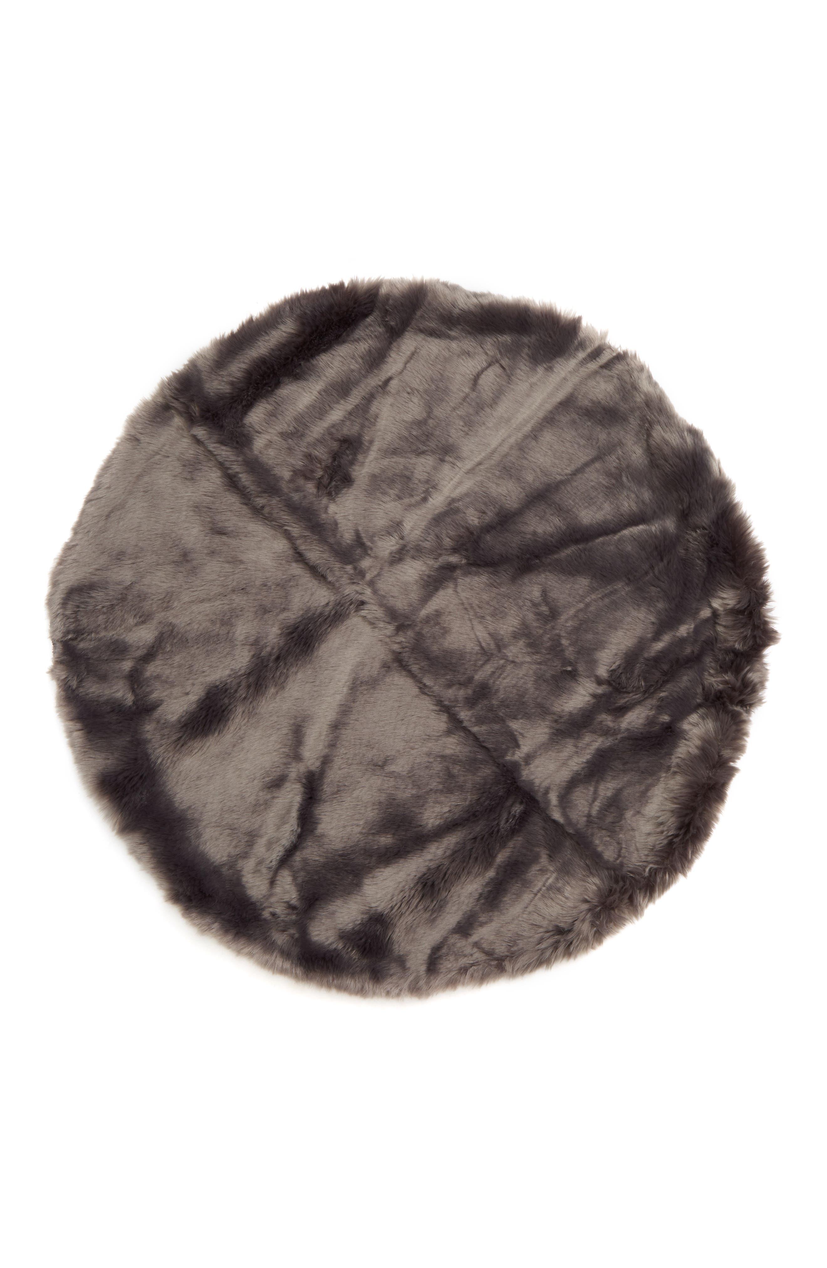 Cuddle Up Faux Fur Round Rug, Main, color, GREY ASPHALT