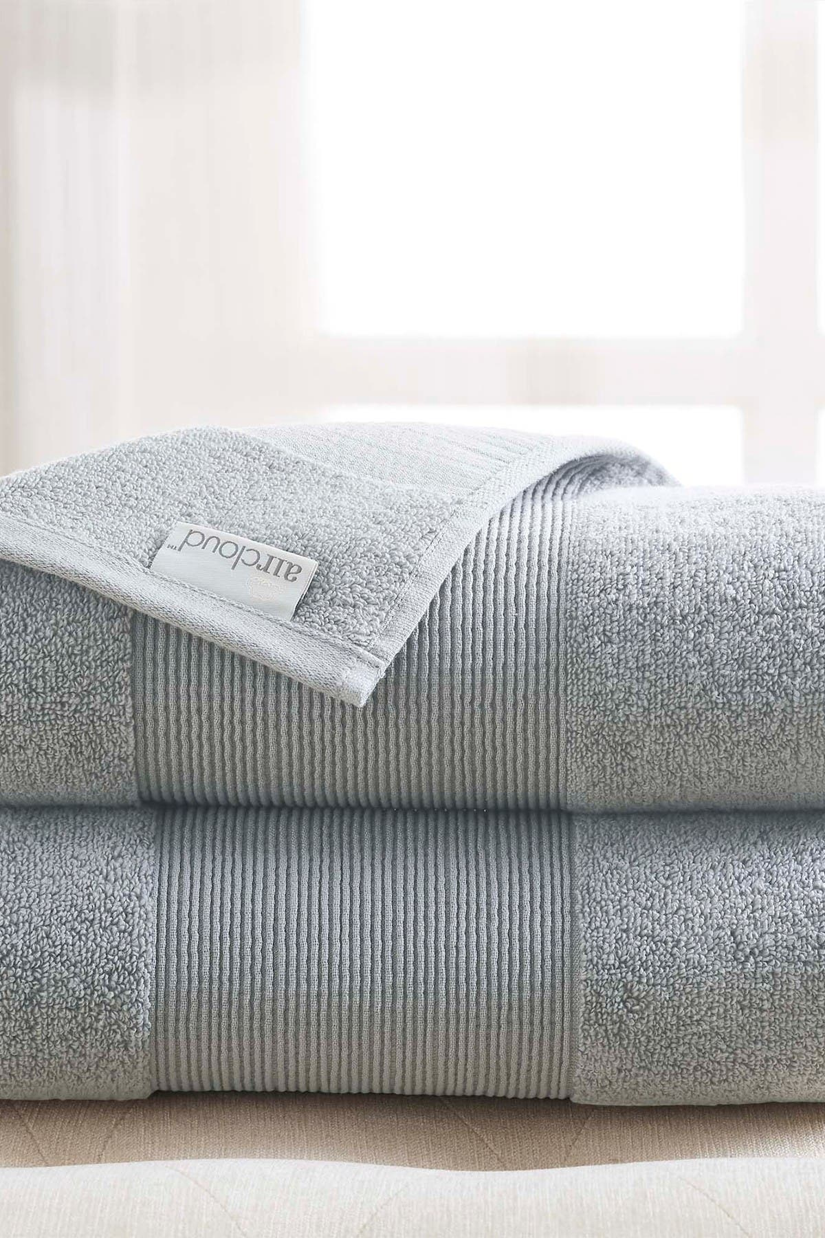 Image of Modern Threads Air Cloud Oversized Bath Sheet - Set of 2 - Soft Gray