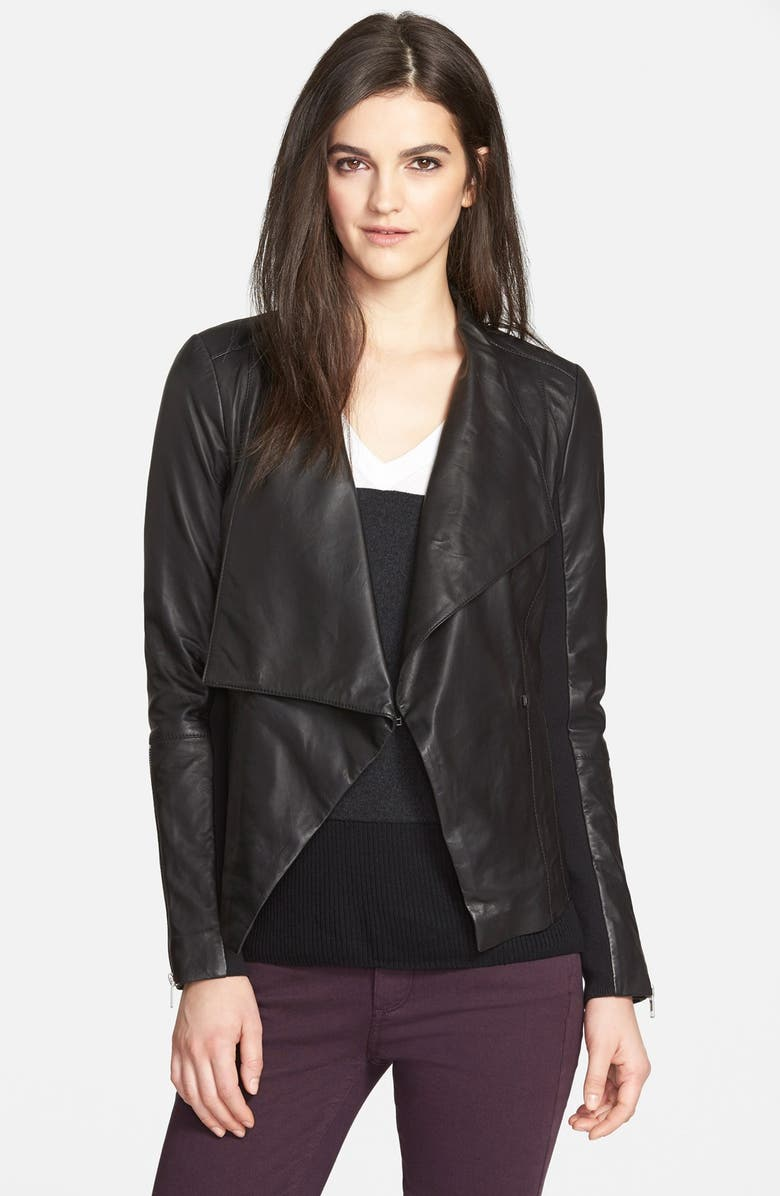 TROUVÉ Drape Collar Leather Jacket, Main, color, 001