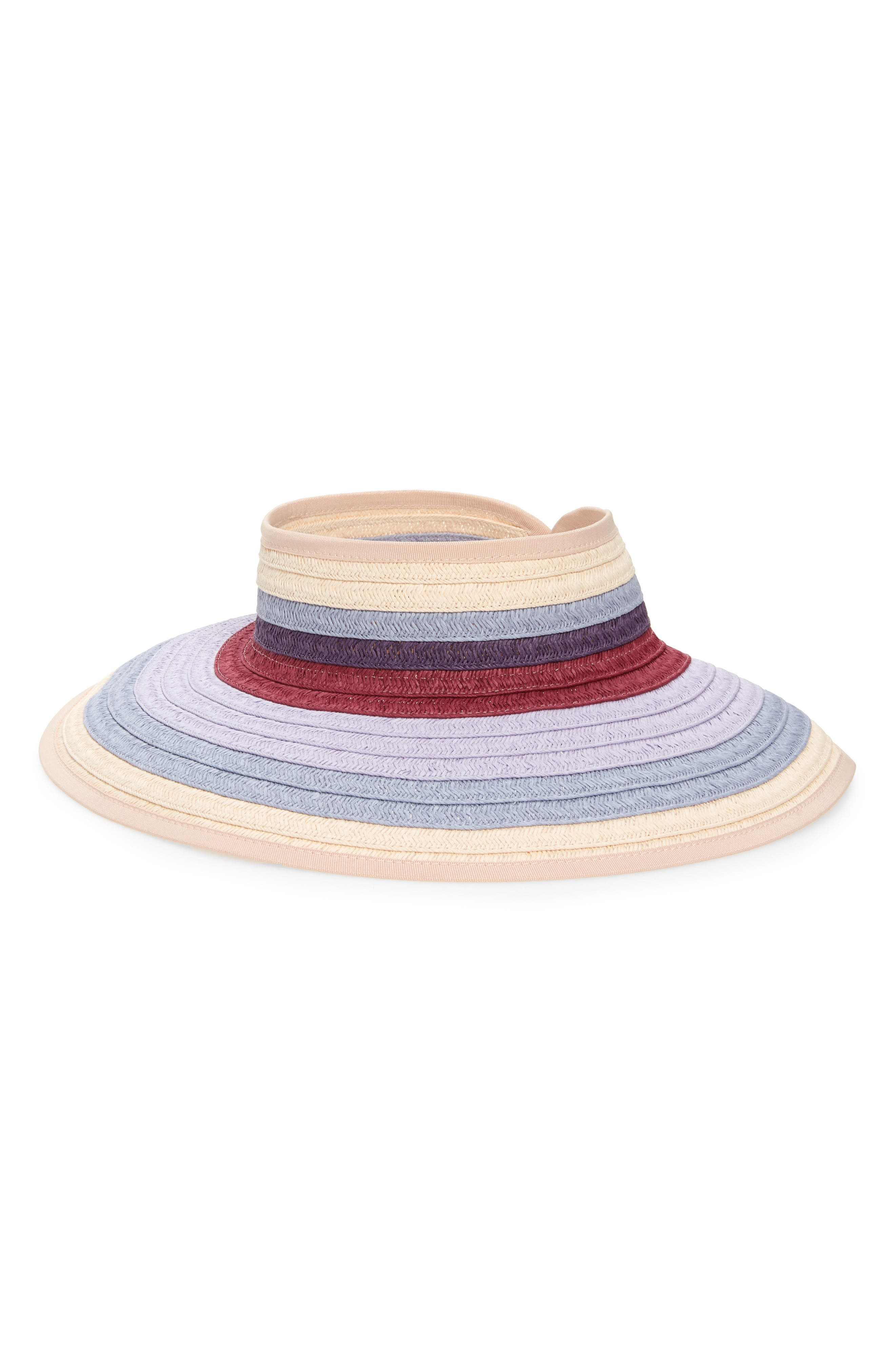 Sun protection plus colorful glamour-what a way to keep you cool. Canvas trims the wide, woven brim, while hook-and-loop tabs in back ensure a fully adjustable fit. Style Name: Nordstrom Multicolored Packable Visor. Style Number: 5762775. Available in stores.