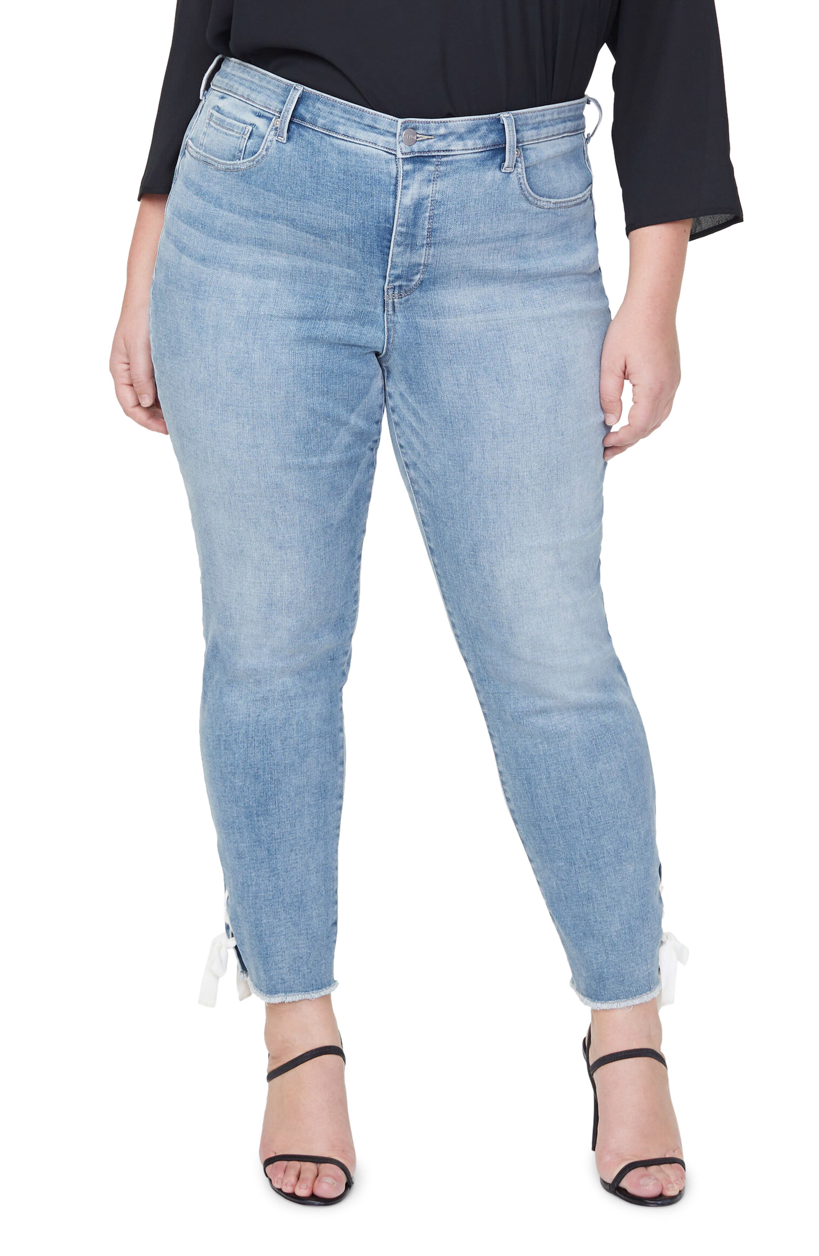 Frayed Lace-Up Hem Ankle Slim Jeans