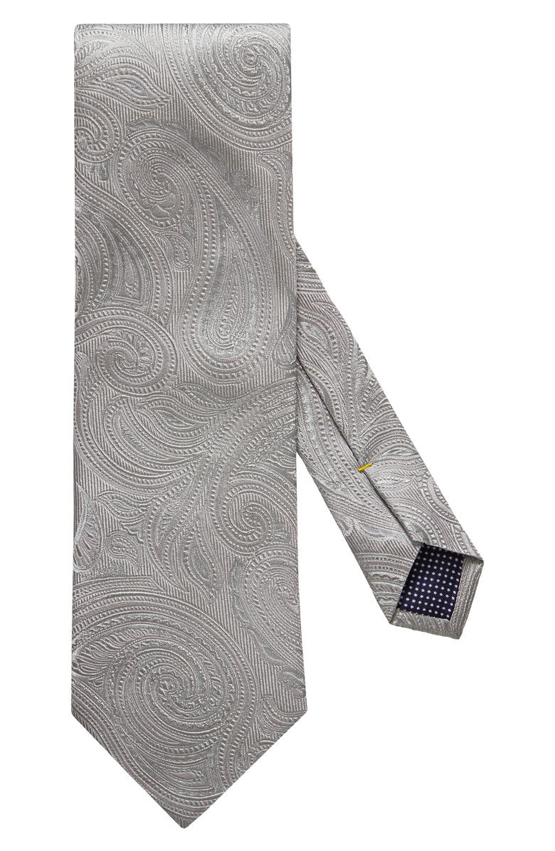 ETON Paisley Silk Blend Tie, Main, color, GREY