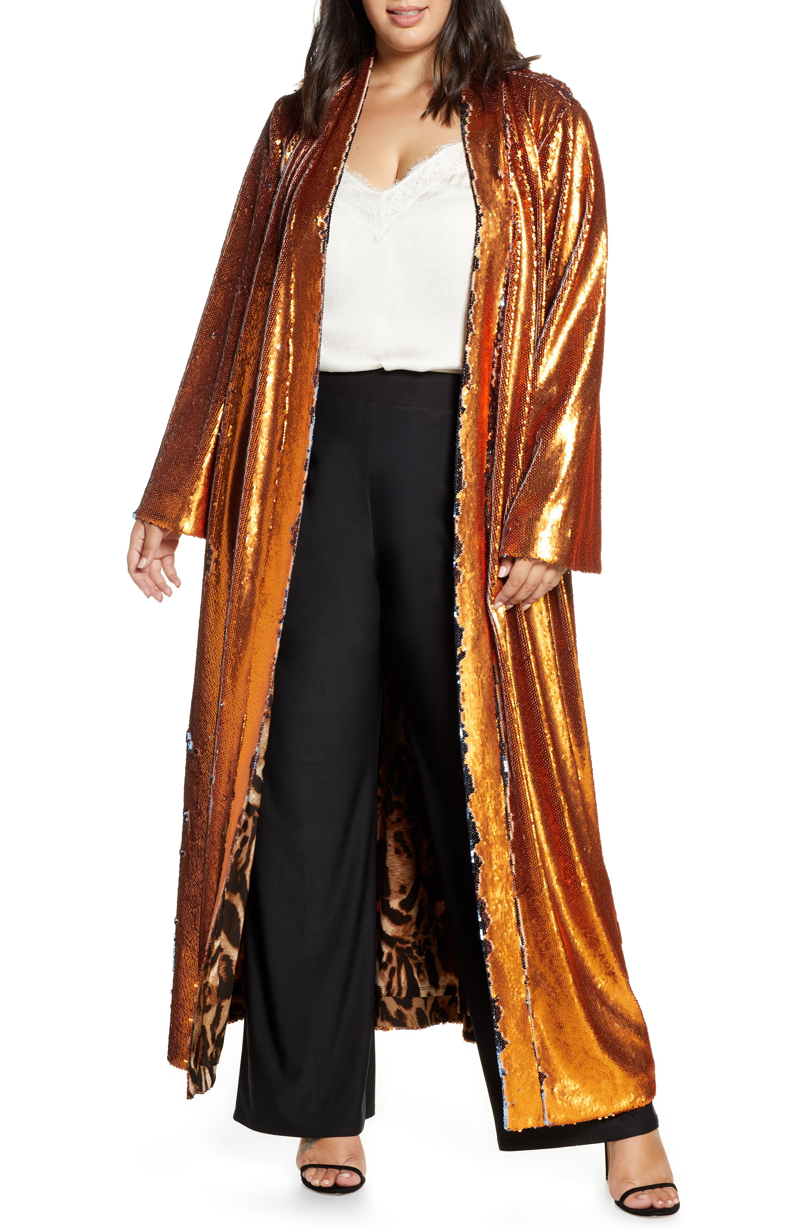 Vintage Coats & Jackets | Retro Coats and Jackets Plus Size Womens Coldesina Sequin Duster Size XL1X - Metallic $298.00 AT vintagedancer.com