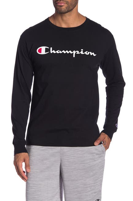 Image of Champion Logo Print Long Sleeve T-Shirt
