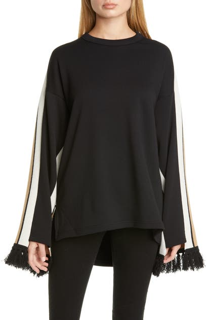 Burberry Otoko Cotton Sweatshirt With Cashmere-scarf Back In Black