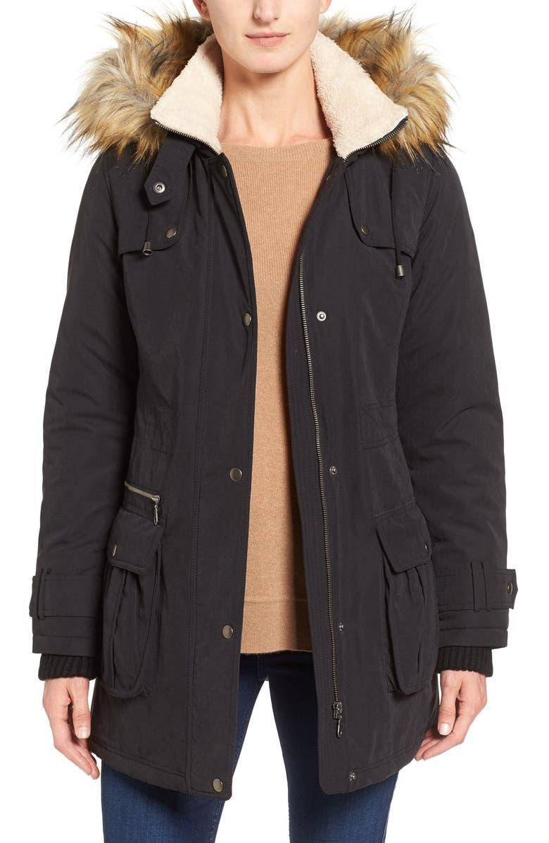 HALOGEN<SUP>®</SUP> Hooded Anorak with Faux Fur Trim, Main, color, 001