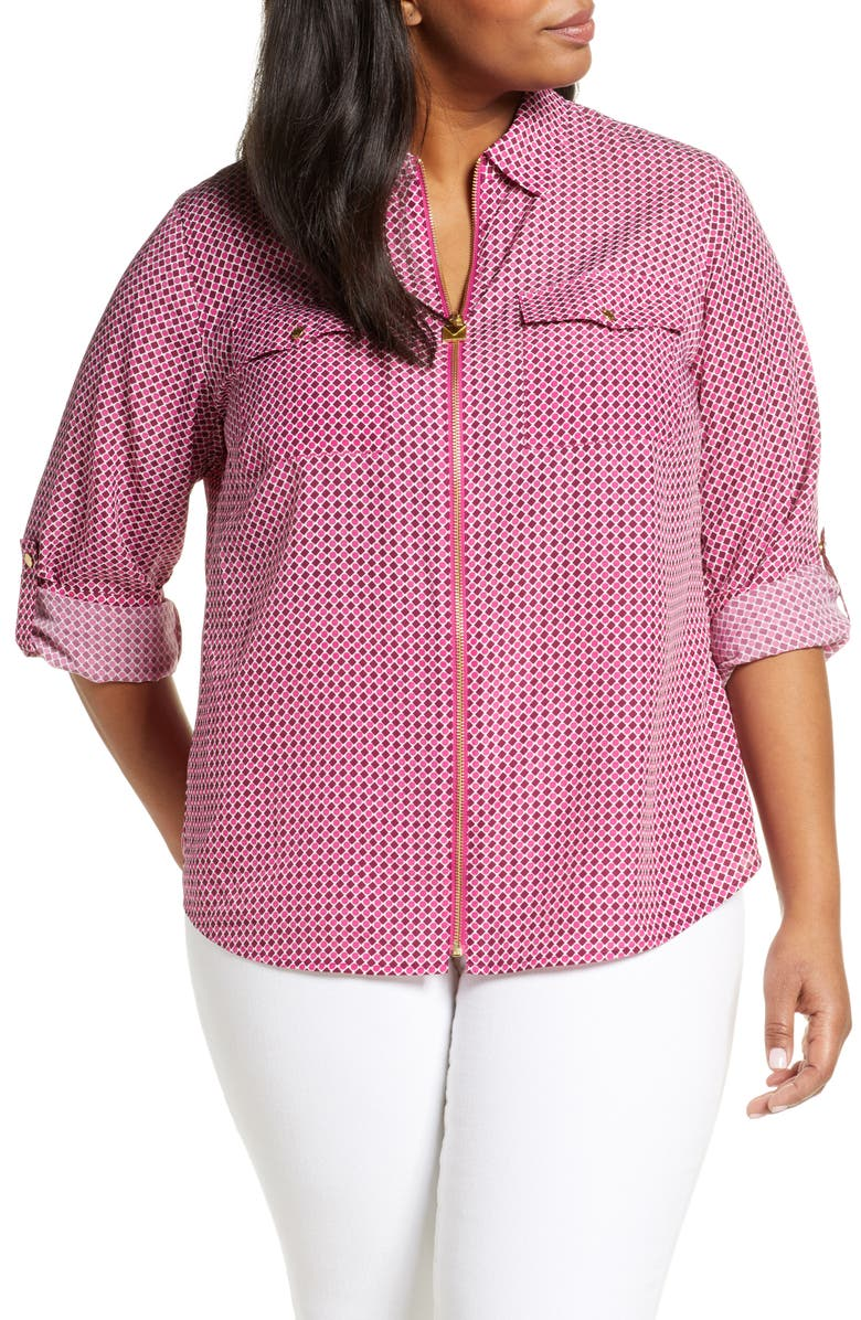 MICHAEL MICHAEL KORS Bias Tile Print Mini Lock Zip Front Shirt, Main, color, 659