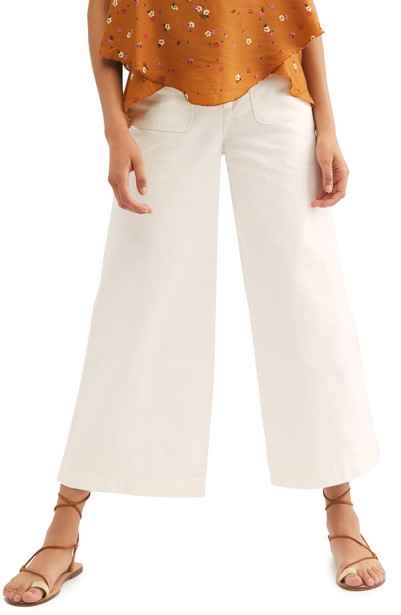 FREE PEOPLE Colette Wide Leg Culottes, Main, color, IVORY