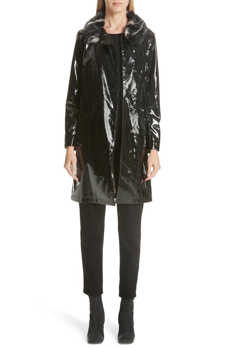 733cbb999e1b Shrimps Faux Leather Coat with Leopard Print Faux Fur Collar   Nordstrom